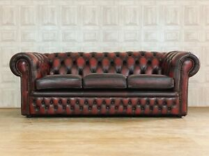 VINTAGE Oxblood Red Leather 3 Seater Chesterfield Club Sofa - *£88 DELIVERY*