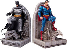 "BATMAN & SUPERMAN ~ 8.75"" Cold-Cast Porcelain Bookends Set (2) by DC Comics #NEW"