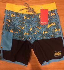 Mambo Boys Board Shorts Boardies Black Blue Yellow Palm Print Size 16 Bnwt