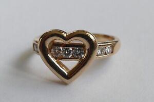 Ring 585 Gelbgold Herz mit 7 Brillanten Vintage 90er ring gold