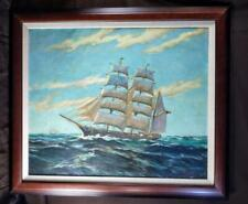 Old Vintage American Nautical Ship Portrait Oil Painting Carmella Robert Zoeller