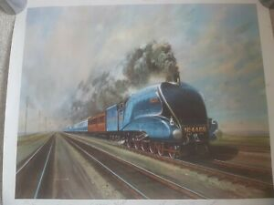 Mallard Breaking The Record, Train Print Signed By The  People Who Worked...