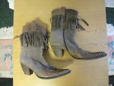 Ladies Cowboy Boots, fawn suede & leather, UK 7, EU 40, side zip, Italian 3140