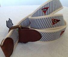 Ralph Lauren Men's Belt Nautical Canvas Flags Leather Ends D-Ring Size S NWT