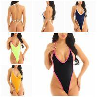Women's One Piece Halter Bathing Monokini Push Up Bikini Thong Swimsuit Swimwear