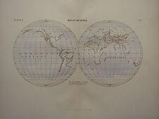 1886 Antique Map ~ The World Eastern & Western Hemispheres Basins