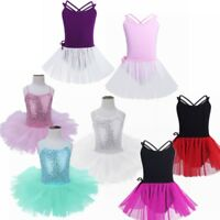 Girls Ballerina Sequin Costume Girl Kid Ballet Dance Dress Leotard Dancewear