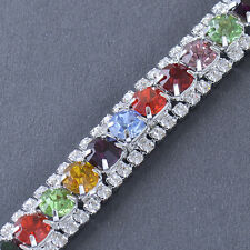 Silver Plated Crystal Multi Colour Tennis Bracelet Fashion Nice Jewelry