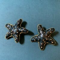Vintage Art Deco Starfish Clip On Earrings Blue and Gold tone  with Gold Specks