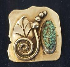 Vintage Navajo Sterling Silver & Turquoise Stone Rattlesnake Pendant 15.9g