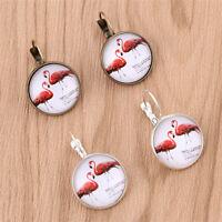 Flamingo Cabochon Earrings Round Pendant Dangle Vintage Jewellery Ladies 1 Pair