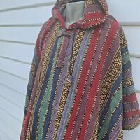 Hooded Poncho Men - Mexican Baja Coat Unbrushed Cape Unisex Nepalese Cotton #05