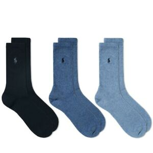 Polo Ralph Lauren Men's Classic Crew Socks Ribbed Casual Cotton Stretch 3-Pair