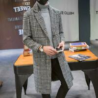 Mens Korean Style Lapel Wool Blend Check Coat Parka Long Overcoat Trench Outwear