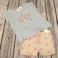 Baby Gap Girls 12-18 Months Outfit. Star GAP Logo Shirt & Polka Dot Shorts. Nwt