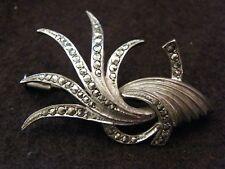 Spille E Fermagli Argento Sterling 3pt Smeraldo & Marcasite Art Deco Geco Spilla Orologi E Gioielli