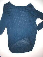 Womens New Womens Open Knit Sweater Dunnes 14 Navy Blue Linen Viscose St Bernard