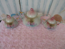 RS Prussia  Handpainted Porcelain Coffee Tea Pot Roses Pearl with creamer sugar