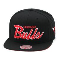 Mitchell & Ness Chicago Bulls Snapback Hat Cap Black/Red Script/Red Bottom