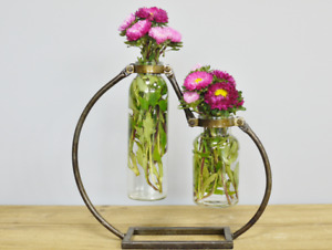 Industrial Style Double Metal Distressed Flower Holder & 2 Glass Vases Home Deco