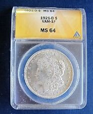 1921 D BU MORGAN DOLLAR VAM 1F ANACS MS64 VERY TOUGH IN BU CERTIFIED!