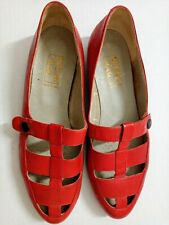 Beene Bag Women's Size 8 Red Leather Vintage Heels Made in Italy