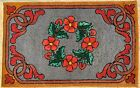 """Antique Vintage American Hand Made Hooked Rug Flowers 41"""" x 26"""""""