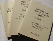Middle Ages Medieval Middle English Prose Manuscripts Lot of 3 Handlists Simpson