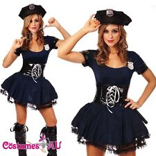 New Ladies Navy Blue Cop Police Woman Costume Uniform Party Fancy Dress Outfits