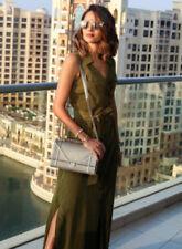 Karen Millen Satin Khaki Shirt Dress size 12 in immaculate condition