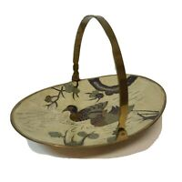 Vintage Brass and Enamel Duck Scene Trinket Dish with Handle India