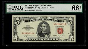 1963 $5 Five Dollar Bill Red Seal Legal Tender PMG 66 EPQ Fr. 1536  AA Block