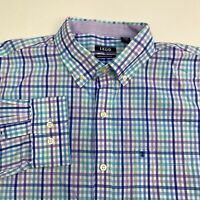 Izod Button Up Shirt Men's Large Long Sleeve Multi-Gingham Casual 100% Cotton
