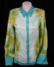 TOMMY BAHAMA Ladies Ferns Tropical Flowers Print Long Sleeve Blouse Silk Small