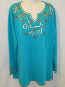 Storybook Knits An Exotic Affair Aqua Blue Embellished Sweater L