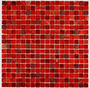 Mosaïque carreau translucide verre resin rouge bain mur 92-0904_f   10 plaques
