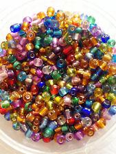 50 Gramos De Semillas De Vidrio Cuentas-mezclado silver-lined - Aprox 4 Mm (tamaño 6/0) Color Mix