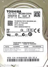 EXACT Toshiba MK2561GSYN 250GB Sata HDD HDD2F24 D UL01 B FW: MH000D