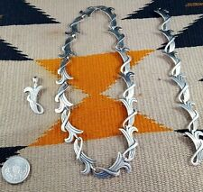 Vtg. Lot of Taxco Signed Sterling Silver Necklace Bracelet Pendant Mexico