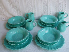 ****TEAL COLOR TULIPS DESIGN 16 PIECE DINNERWARE SET SERVICE FOR 4, NEW  ****
