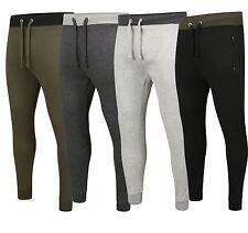Mens Slim Fit Joggers Jogging Bottoms Pants Plain Black Grey Khaki S M L XL