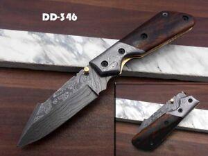 Damascus steel folding knife, Pocket clip, Walnut wood, Thumb knob, Cow sheat6
