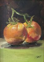 Tomato, original oil painting a day, still life signed, fruit 5x7, 2017