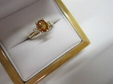 STUNNING ESTATE 14 KT GOLD 1.10 CTW VIVID ORANGE SAPPHIRE AND DIAMOND RING !!!!