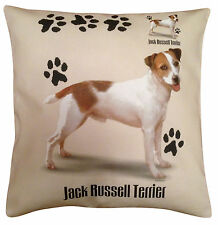 Jack Russell Terrier Paws Cotton Cushion Cover - Cream or White - Gift Item