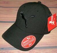 MENS PUMA STRETCH FIT FITTED SOLID BLACK HAT CAP SIZE L/XL