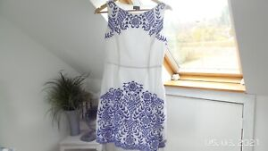 Phase Eight White Lined Embroidered Cotton Summer Shift Dress Size 10