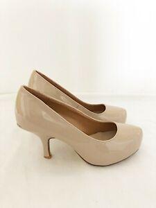 New Ladies Nude Patent Court Shoe Office Midi Heel UK Sizes