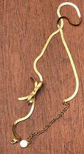 Vintage Retired Anne Klein Textured Gold Tone Chain Bow & Rhinestone Belt ~44�