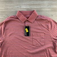 ROUNDTREE & YORKE Cotton SHORT SLEEVES SHIRT Large Polo Shirt Pink Stripe K222